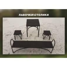 Полимерпесчаные лавки и столики